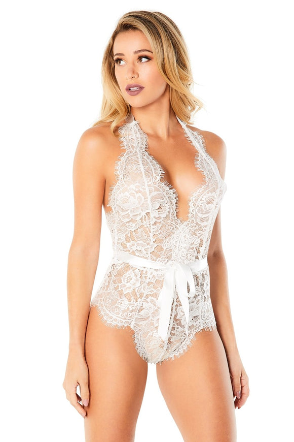 Eyelash Lace Halter Bodysuit With Functional Ties and Back Zipper - White - Small/medium OH-52-11025WTSM