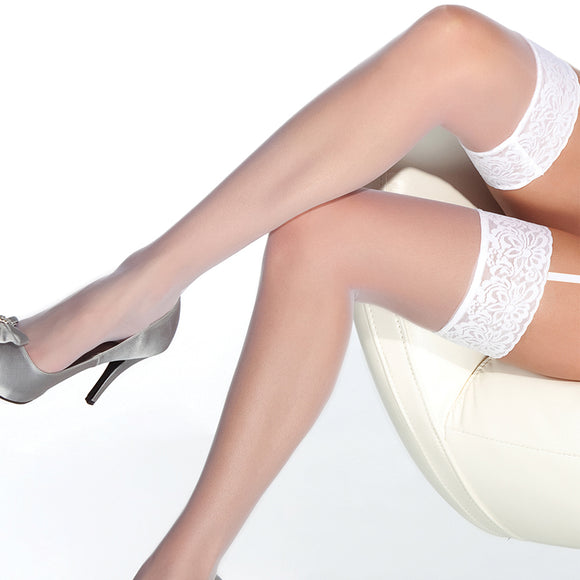 Coquette Thigh High Sheer Lace Top Stockings-White O/S