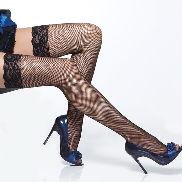 Coquette Thigh High Fishnet Lace Top Stockings-Black O/S