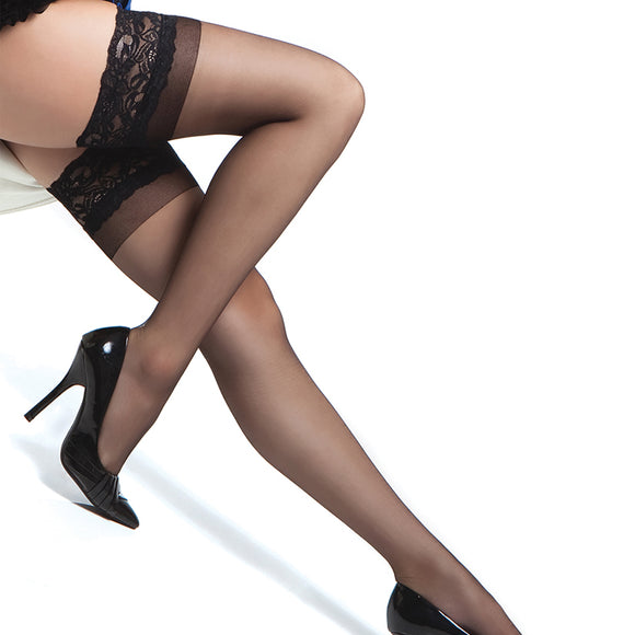 Coquette Thigh High Sheer Stay Up  Stockings-Black O/S