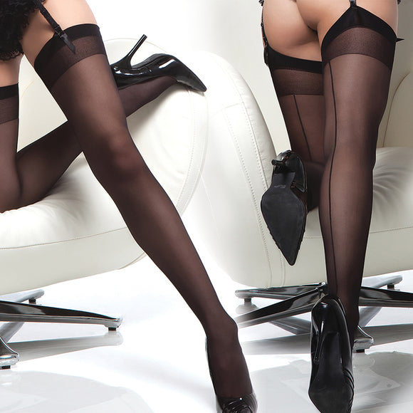 Coquette Thigh High Sheer Back Seam Stockings-Black O/S X