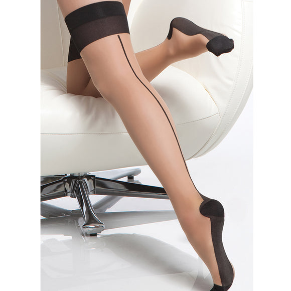 Coquette Thigh High Sheer Cuban Heel Seam Stockings-Nude O/S