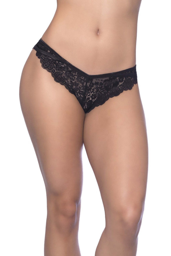 Cage Back Galloon Lace Boyshort With Wrap Around  Elastic Detail - 1x/2x - Black OH-24-10653-BK1X2X