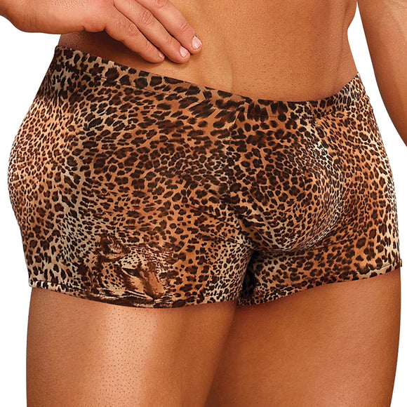 Male Power Animal Pouch Short-Brown Leopard Medium