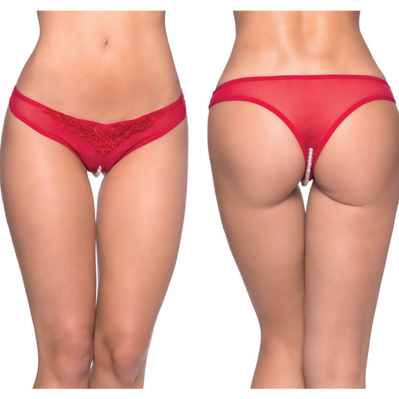 Paradise Crotchless Pearl Thong-Red O/S