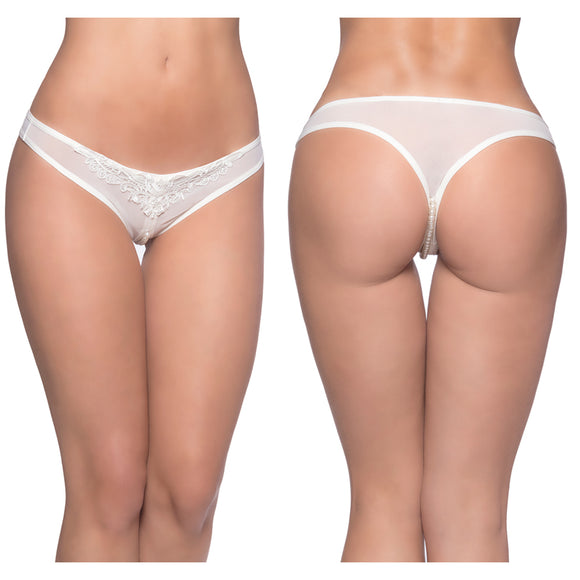 Paradise Crotchless Pearl Thong-White O/S