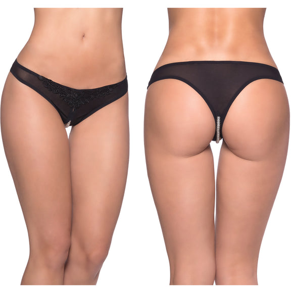 Paradise Crotchless Pearl Thong-Black 1X/2X