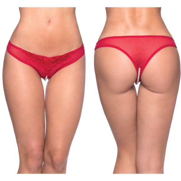 Paradise Crotchless Pearl Thong-Red 1X/2X