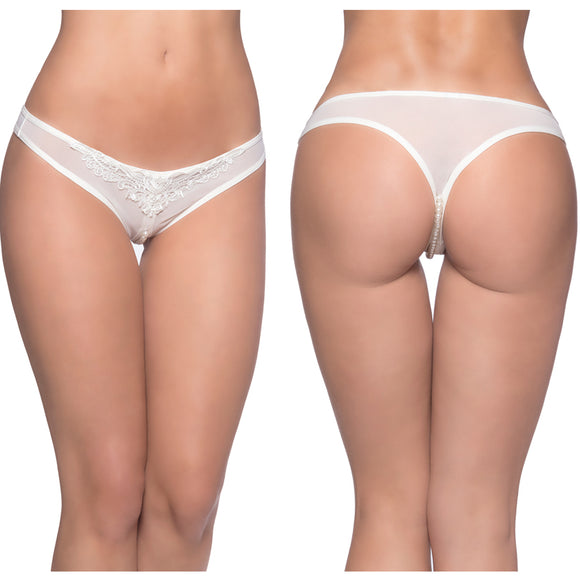 Paradise Crotchless Pearl Thong-White 1X/2X