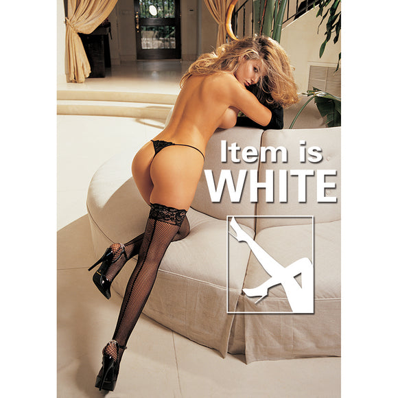 Hot Fishnet & Lace Back Seam Stocking-White O/S