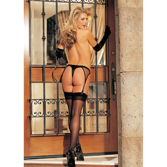 Hot Sheer Back Seam Thigh High-Black O/S
