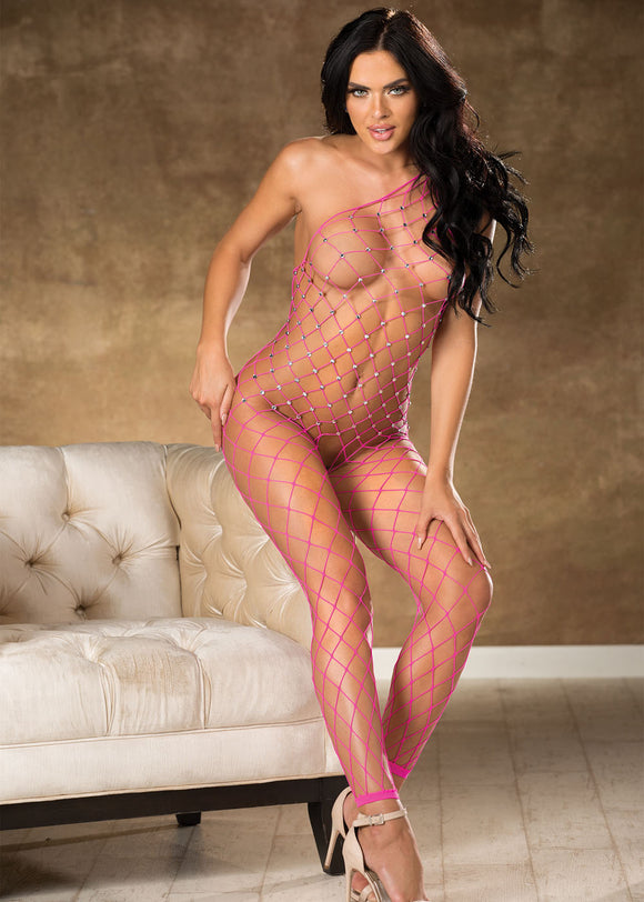 Fishnet Bodystocking With Stones - One Size - Hot Pink HOT-90449HTP