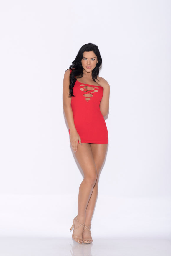 Seamless Sleeveless Chemise - One Size - Red GLTR-32112