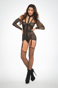 Chole See Through Me Corselette With Garters - Black - Small ALR-A1019-S