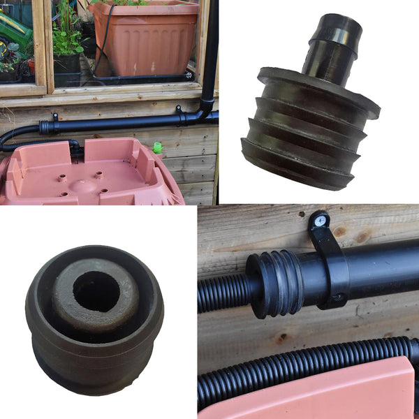 40mm 50mm water butt adapter for sheds and greenhouse downpipe