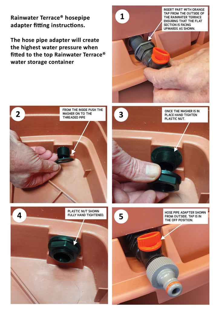 Hose pipe adapter for water butts, fitting instructions
