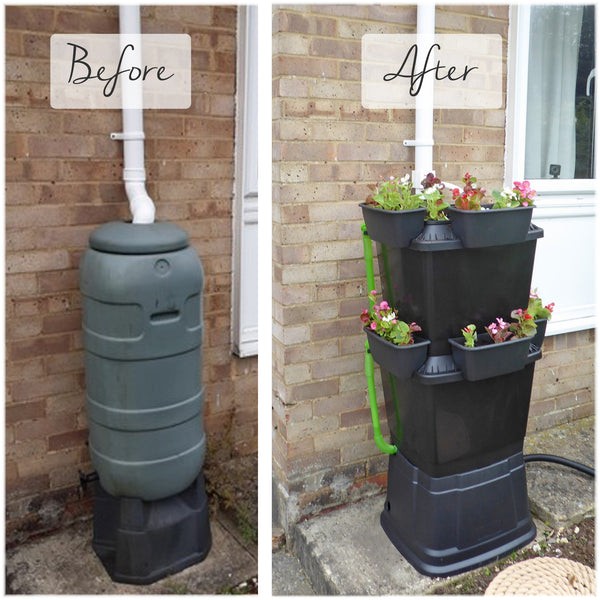water butt before and after using a rainwater terrace