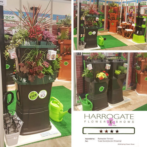 clever water butts with planters at the Harrogate flower show
