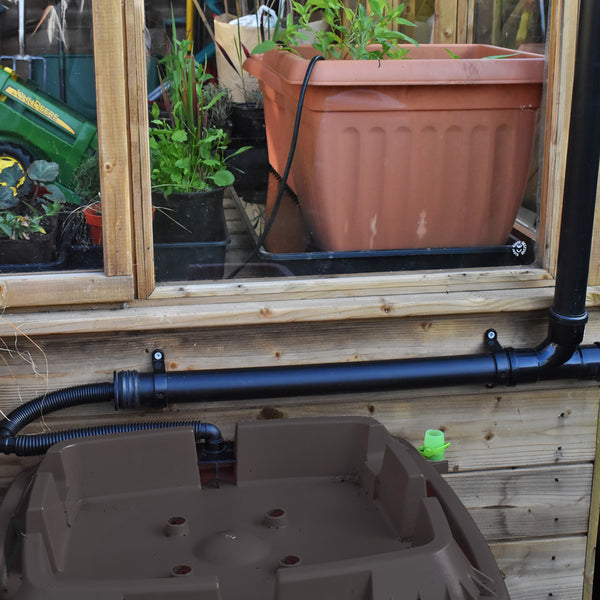Greenhouse Water Butt with 40mm downpipe adapter, 2 Tier 134 Litre No Planters by Rainwater Terrace
