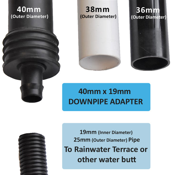 40mm water butt down pipe adapter for greenhouses or sheds. Fits 40mm, 38mm and 36mm dowbpipe. fits 19mm inner diameter 25mm outer diameter tubing