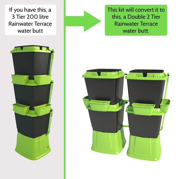 Converter Kit: 3 Tier water butt to Double 2 Tier water butt by Rainwater Terrace