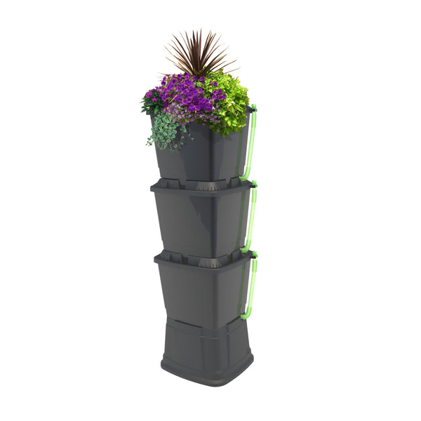 Slimline space saving 200 litre water butt no planters