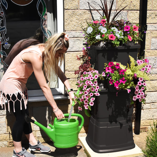 black water butt with flowers, girl filling up watering can