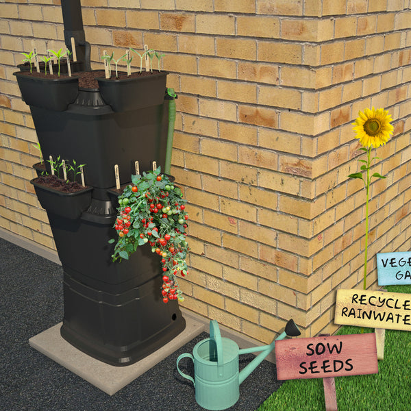 School Starter Kit: 2 Tier Rainwater Terrace Water Butt With Planters (134 Litre) - Rainwater Terrace®
