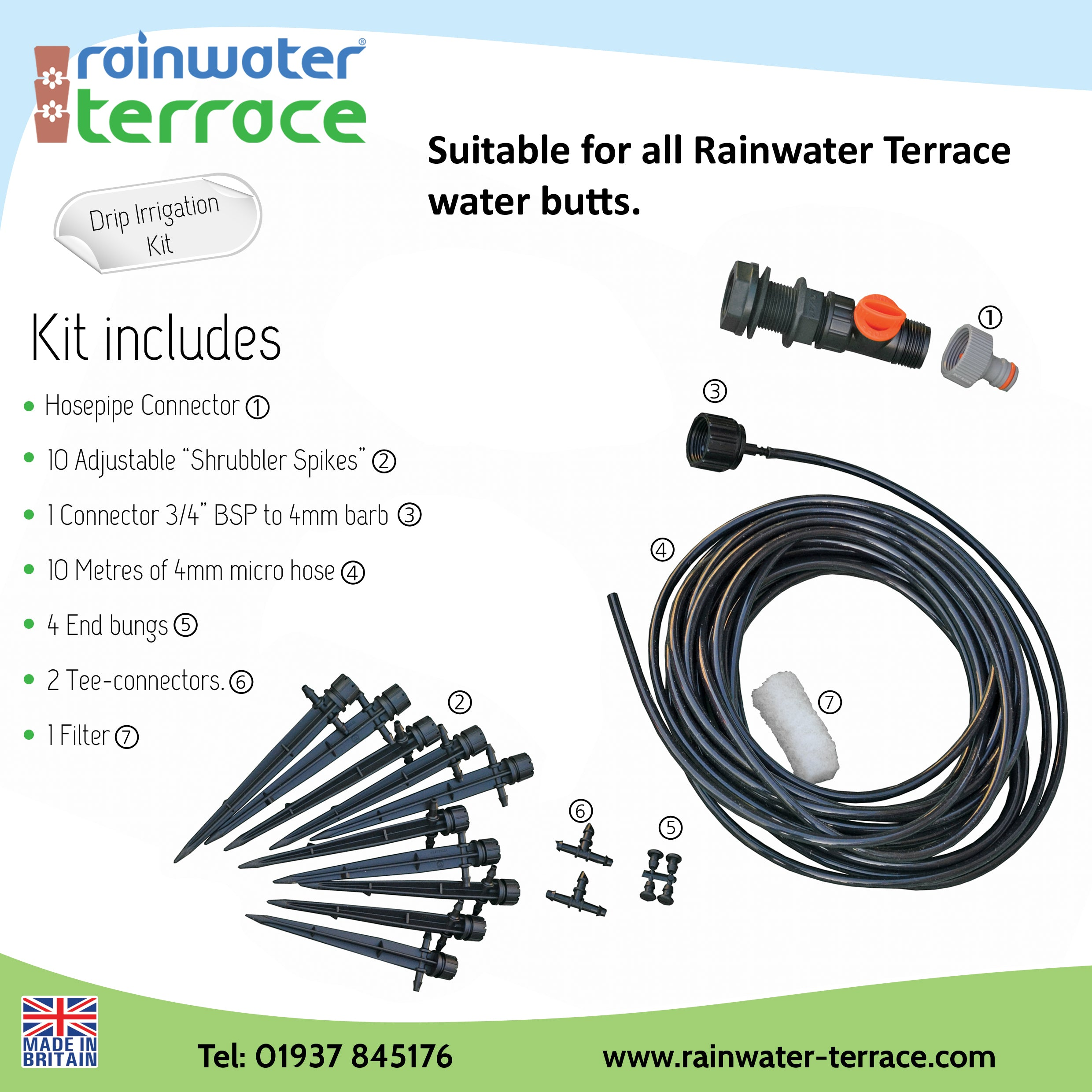 Drip Irrigation Kit For Rainwater Terrace Water Butts