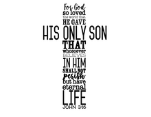 Load image into Gallery viewer, John 3:16 vinyl decal - FREE SHIPPING! 10.75 inches