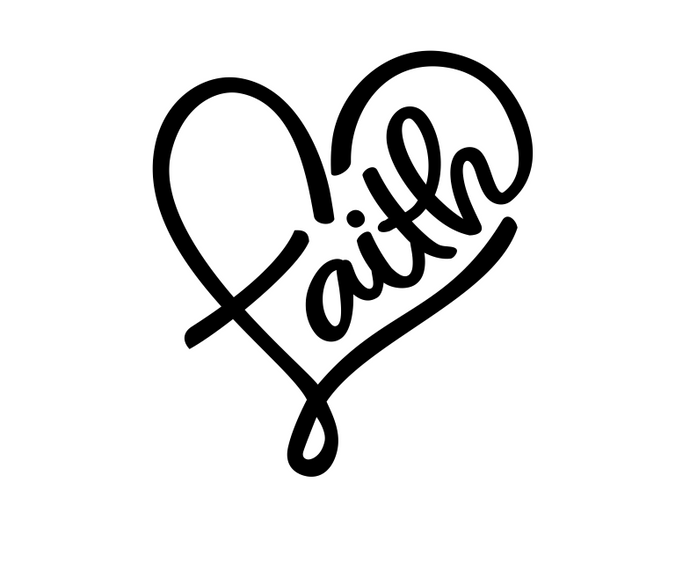 Faith in a heart vinyl decal - FREE SHIPPING! multiple sizes