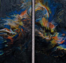 Load image into Gallery viewer, 14x14 Acrylic Abstract Diptych Painting (two 7x14 paintings) - Prism Dog