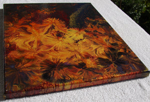 14x18 Acrylic Abstract Painting - Golden Dandelion