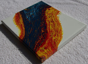 8x10 Acrylic Abstract Painting - Fire and Ice