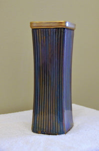 3x3 Square Glass Vase with Metallic Colors and Gold Rim