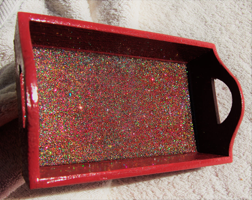 4.5x8 Wood Rectangle Burgundy Glitter Tray