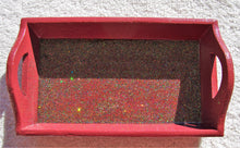 Load image into Gallery viewer, 4.5x8 Wood Rectangle Burgundy Glitter Tray