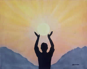 """Harness the Energy"" - 16x20 Silhouette Oil Painting"