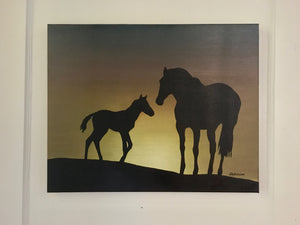 """Mother's Love"" - 16x20 Silhouette Oil Painting"