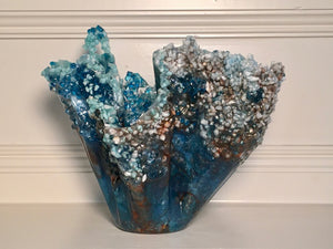 Blue/Bronze/White Freeform Resin Art Sculpture