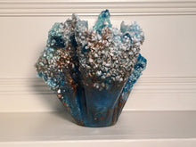 Load image into Gallery viewer, Blue/Bronze/White Freeform Resin Art Sculpture