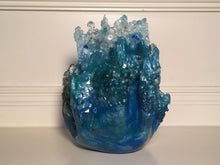 Load image into Gallery viewer, Blue/White Splash Freeform Resin Art Sculpture