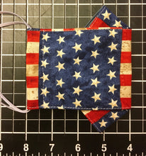 Load image into Gallery viewer, Cotton PATRIOTIC Flat Front Face Mask - 2 layers!