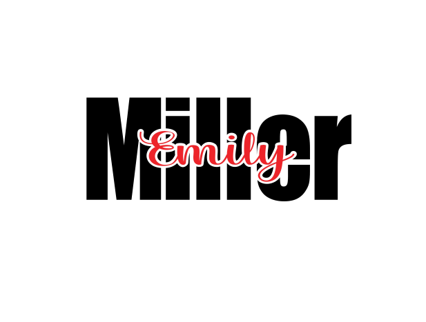 First name cutout within Last name - 25% off 3 or more! FREE SHIPPING! multiple sizes