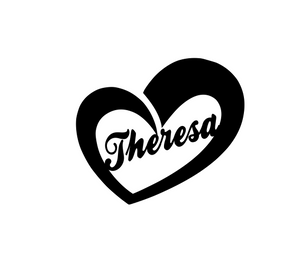 Name in an open heart (v3) decal - 25% off 3 or more! FREE SHIPPING! multiple sizes
