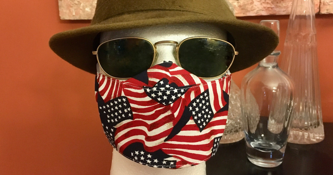 Cotton PATRIOTIC Flat Front Face Mask - 2 layers!