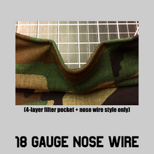 Load image into Gallery viewer, Cotton PLEATED Face Mask - 2 layer or 4 layer with or without Filter Pocket + Nose Wire! $8-12