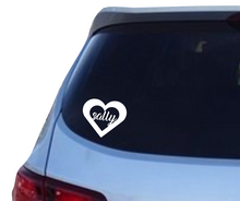 Load image into Gallery viewer, Name in a heart decal - 25% off 3 or more! FREE SHIPPING! multiple sizes