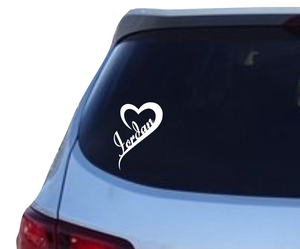 Name in an open heart (v1) decal - 25% off 3 or more! FREE SHIPPING! multiple sizes