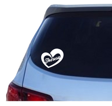 Load image into Gallery viewer, Name in an open heart (v3) decal - 25% off 3 or more! FREE SHIPPING! multiple sizes
